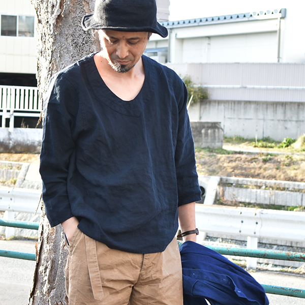 """Pull Over Sign : Black sign """"linen weather pull over shirt masuya"""
