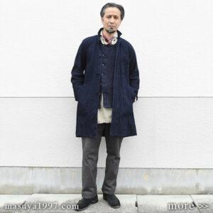 """DjangoAtour """"classic farmers indigo coat & da frenchwork indigo vest"""""""